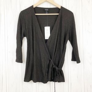 EILEEN FISHER Brown Wrap 3/4 Sleeve Top